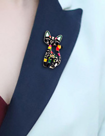 Fashion Pink Alloy Dripping Cat Brooch