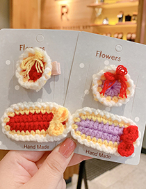 Fashion Round Wool Hairpin [orange] Small Wool Knitted Bowknot Childrens Hairpin