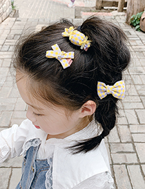 Fashion Orange Grid [3 Piece Set] Checkered Bowknot Candy Childrens Hairpin Set