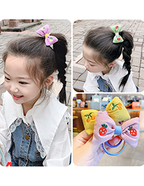 Fashion Green Bow [hair Rope] Bowknot Fruit Embroidery Childrens Hair Rope