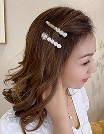 Fashion Pearl Rhinestone Word Folder Pearl And Diamond Love Letter Alloy Hairpin