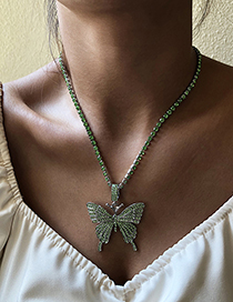 Fashion Gold Color Alloy Diamond Butterfly Pendant Necklace