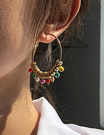 Fashion Gold Color Alloy Rice Bead Round Earrings