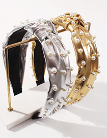 Fashion Silver Color Color Pu Knotted Pearl Headband