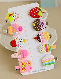 Fashion Color Alloy Soft Ceramic Ice Cream Series Duckbill Hairpin Set