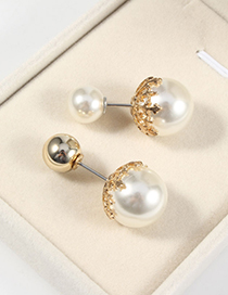 Fashion Gold Color Ball One Word Pin Pearl Round Brooch