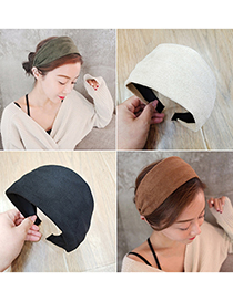 Fashion Armygreen Suede Flat Wide-sided Solid Color Hair Band