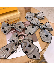 Fashion Hair Rope Coffee Color Polka Dot Big Bow Ribbon Ribbon Diamond Flower Hairpin Hair Rope