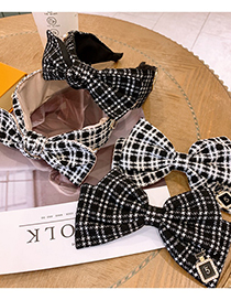 Fashion White (hairpin) Houndstooth Bow Wide-brimmed Hairpin Headband