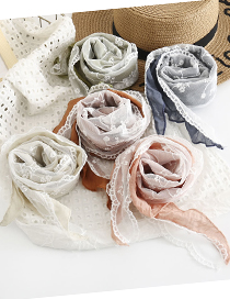 Fashion Pink Lace Stitching Solid Color Triangle Scarf