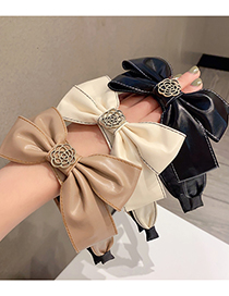 Fashion Brown Coffee Side Soft Leather Bow Rose Headband