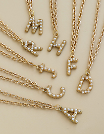 Fashion F Alloy Pearl Letter Necklace