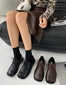 Fashion Brown Flat Square Toe Lace-up Shoes