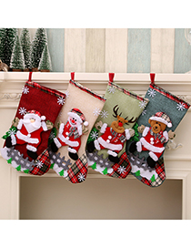Fashion Bear Linen Large Christmas Elk Christmas Socks