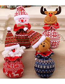 Fashion Bear Christmas Knitted Yarn Closure Child Apple Gift Bag