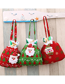 Fashion Red Snowman Christmas Golden Velvet Drawstring Apple Gift Bag