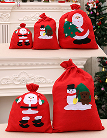 Fashion Extra Large 50*70cm (random Pattern) Santa Backpack Non-woven Fabric Handmade Applique Gift Bag