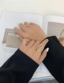 Fashion Silver Color Color Geometric Multilayer Winding Alloy Hollow Ring