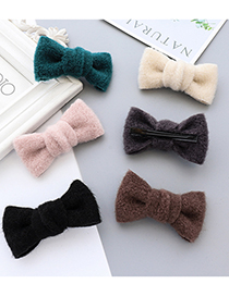 Fashion Gray Woolen Fabric Butterfly Combined With Blond Hair Clip