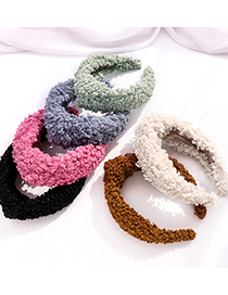 Fashion Like Camel Wool Curly Plush Fabric Knotted Wide-brimmed Headband