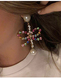 Fashion Color Claw Chain Alloy Diamond Pearl Bow Earrings