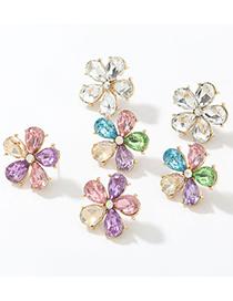 Pendientes De Flores De Diamantes De Cristal Con Incrustaciones De Aleación