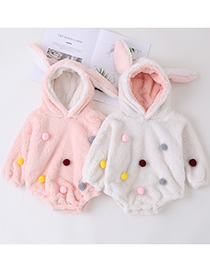 Fashion Pink Hair Ball Thickened Long-sleeved Rabbit Ears Romper