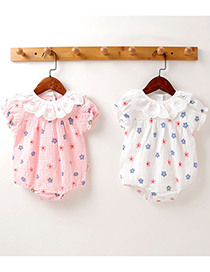 Fashion Pink Childrens Romper With Printed Round Neck Lace