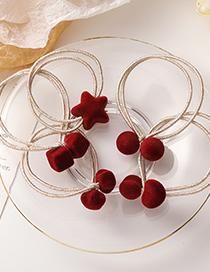 Fashion Square Red Velvet Star Love Geometric Hair Rope