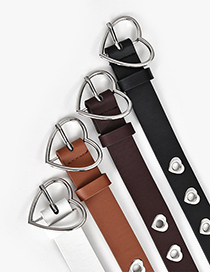 Fashion Camel Heart Hole Hollow Belt With Eyelet Buckle