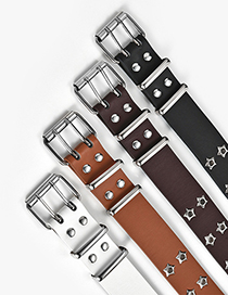 Fashion Camel Wide Belt With Double-row Hole Pin Buckle