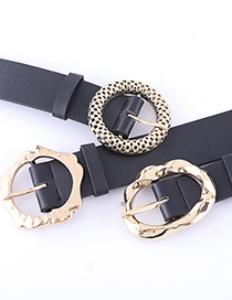 Fashion Flower Black Geometric Light-body Wide Belt With Japanese Buckle