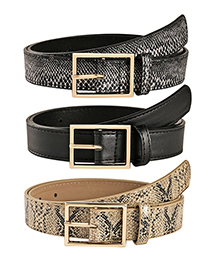 Fashion Serpentine Beige Alloy Snake Belt With Japanese Buckle