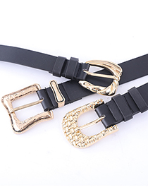 Fashion Braided Black Textured Pin Buckle Geometric Alloy Belt