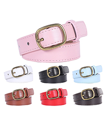 Fashion Sky Blue Double Loop Alloy Jeans Belt With Bronze Buckle