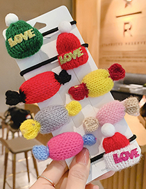 Fashion Red Hat [hair Rope] Knitted Woolen Hat Letter Children S Hair Rope Hairpin