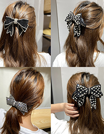 Fashion Beaded Bow Big Diamond-studded Pearl Lattice Butterfly Combined With Blonde Clip