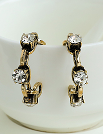 Ancient Gold Alloy Diamond Chain Semicircle Earrings