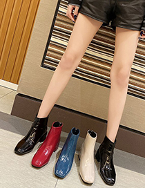 Fashion Creamy-white Patent Leather Square Toe Chunky Heel And Fleece Short Boots