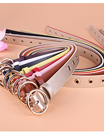 Fashion Coffee Punch-free Pu Leather Round Buckle Eye Belt