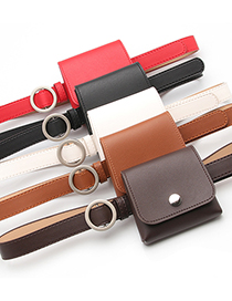 Fashion Coffee Thin Belt Belt Bag Without Holes