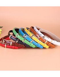 Fashion Coffee Small Pu Leather Belt With Pin Buckle