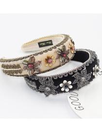 Fashion Black Sponge Diamond-studded Flowers Broad-brim Hair Band