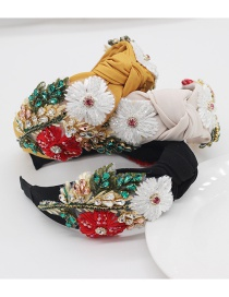 Fashion Black Fabric With Diamonds And Handmade Flowers Knotted Wide-brimmed Headband