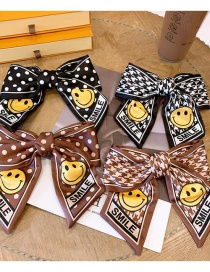 Fashion Houndstooth Coffee Big Bow Smiley Polka Dot Houndstooth Hairpin