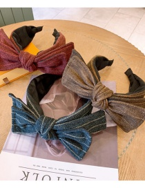 Fashion Rust Red Woolen Striped Wide-brimmed Large Bow Headband