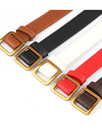 Fashion Coffee Square Buckle Non-perforated Soft Leather Jeans Belt