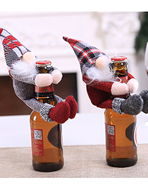 Fashion Gray Old Man Christmas Items Santa Claus Holding Red Wine Set