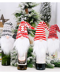 Fashion Red And White Forester Wine Set Christmas Supplies Knitted Hat Forest Old Man Wine Set