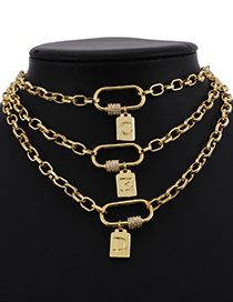 Fashion Y Copper Inlaid Zircon Thick Chain Ring Pendant Letter Necklace